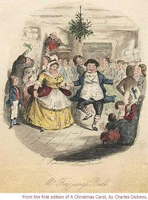 Mr. & Mrs. Fezziwig dancing at Fezziwig's Ball